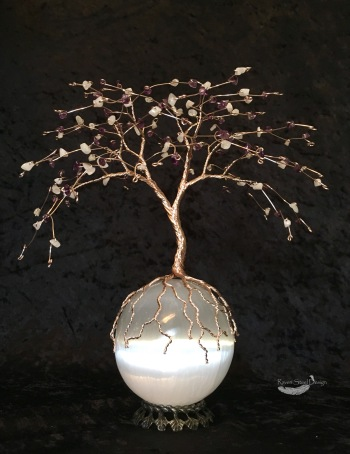 Amethyst and Moonstone Rose Gold Tree of Life on Selenite Sphere Sculpture