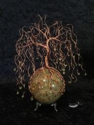 Copper Twist Weeping Willow Wire Tree on Jasper Sphere Sculpture
