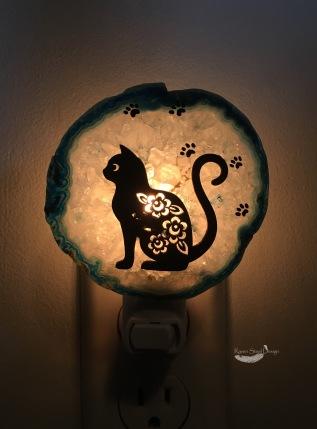 Kitty Cat Agate Slice Night Light
