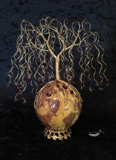 Autumn Colors Garnet Weeping Willow Wire Tree on Jasper Sphere Sculpture