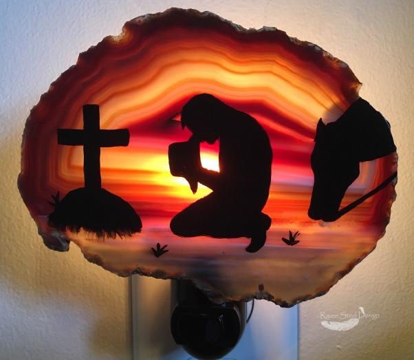 Praying Cowboy Agate Slice Night Light