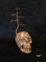 Carved Stone Skull Bonsai Tree Sculpture