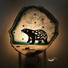 Polar Bear Express Agate Slice Night Light